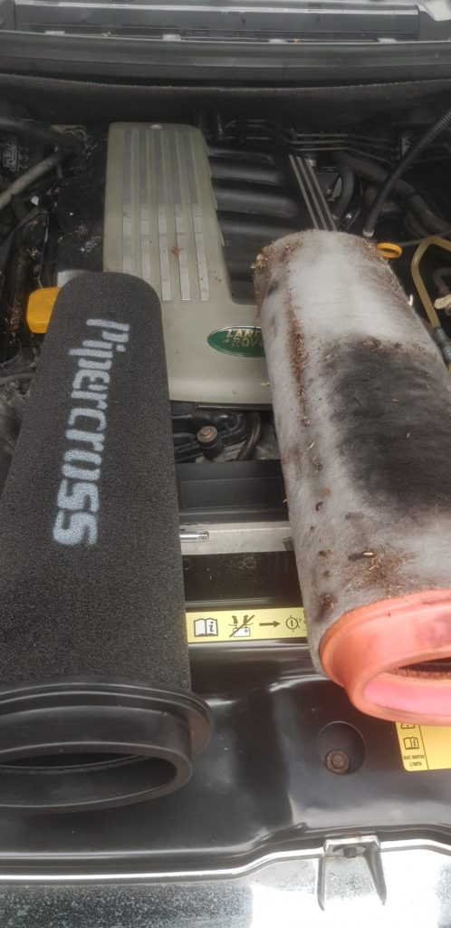 Pipercross air filter upgrade on TD6 L322 Range Rover at Tuning Emporium